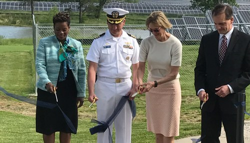 Left to right: Duke Energy Indiana president Melody Birmingham-Byrd, Commander Timothy Craddock, lieutenant governor Suzanne Crouch; John Kleim, executive director, Department of the Navy's Resilient Energy Programme Office. Source: Duke Energy