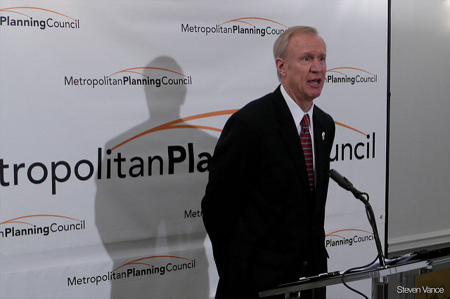 Illinois governor Bruce Rauner and his administration were among chief critics of the bill, suggesting some of its measures would need to be scaled-back in light of cost hikes to consumers and manufacturers. Source: Flickr/Steven Vance
