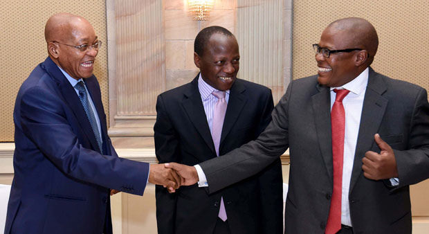 Former Eskom CEO (right) shakes hands with President Jacob Zuma. Source: Flickr/GovernmentZA