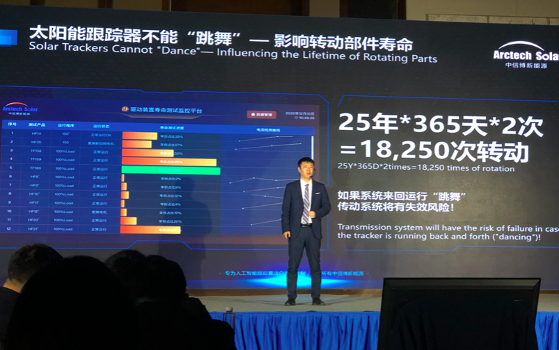 Bruce Wang, Arctech's CTO, introducing the new generation smart PV tracking solution