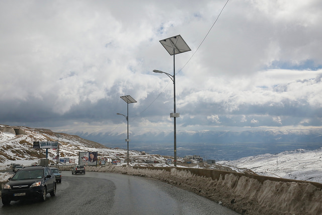Solar street lighting in Lebanon. The country is reliant on imported fuel for electricity generation. Image: Russell Watkins/DFID.
