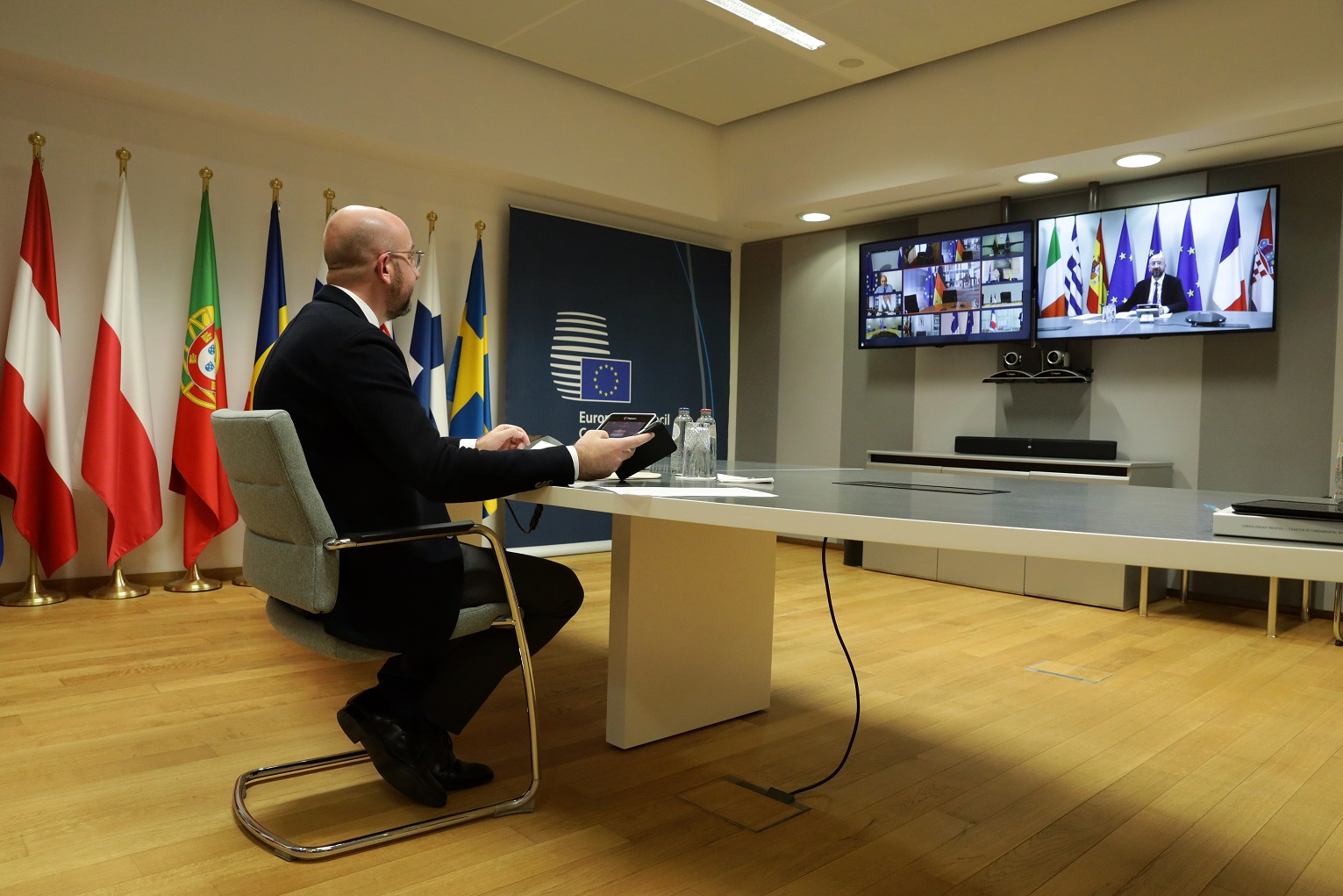 EU heads of state gathered for a videoconference said a return to economic and social normality will demand 'unprecented investment'. Image credit: European Union