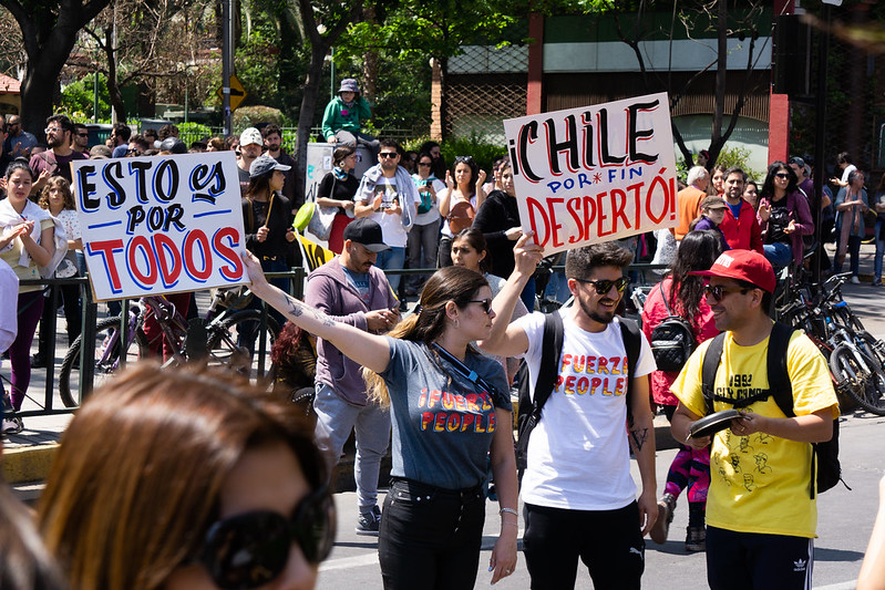 Chile's 2019 momentum with renewables came in a year when widespread street protests threw the government into chaos. Image credit: Diego Corre / Flickr