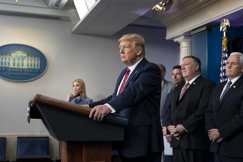 President Donald J. Trump at a COVID-19 press briefing on 20 March 2020. Image credit: GPA Photo Archive / Flickr