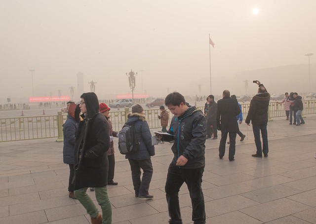 Researchers screened data from 120 stations and found poor air quality could have deprived China from 11-15% added PV production in 2015 (Credit: Flickr / Michael Davis-Burchat)