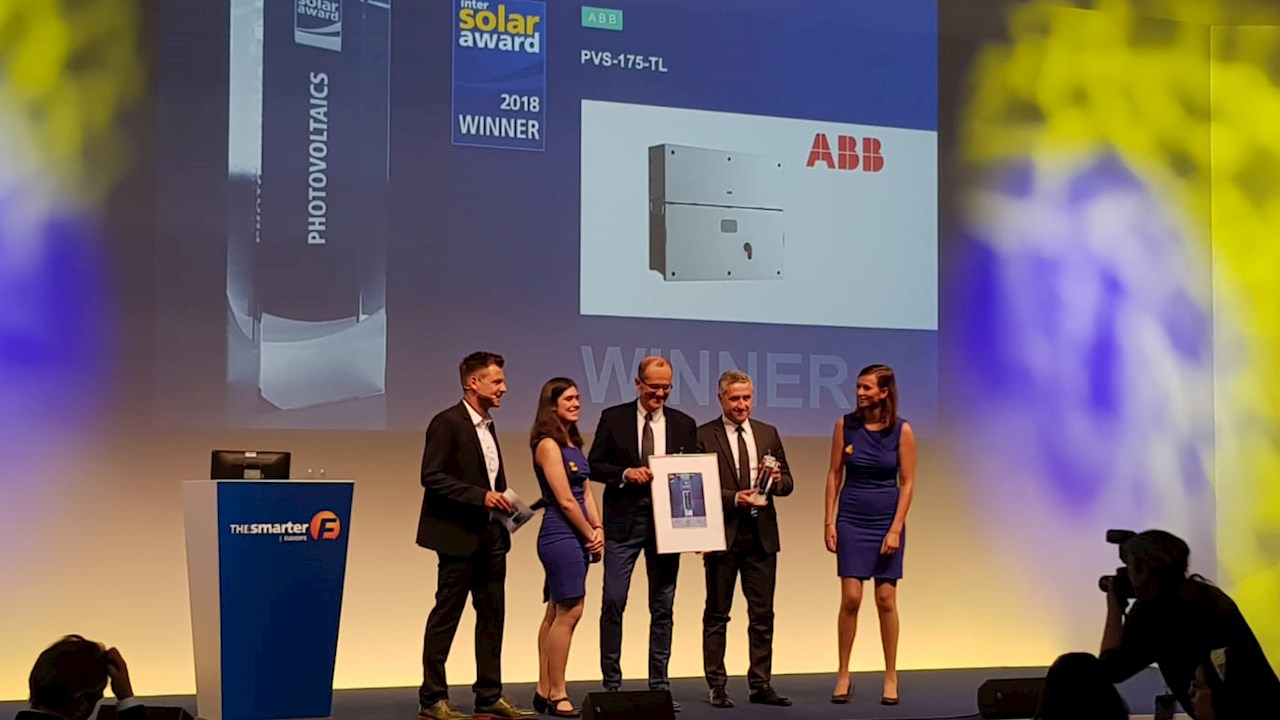 ABB was a winner with its PVS-175-TL inverter that is a cloud-connected three-phase string solution for commercial rooftop applications and utility scale power plants. Image: ABB
