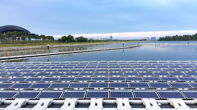 Floating solar platforms will be naturally cooled by the surrounding water, which increases the efficiency of the energy yields significantly. Source: ABB