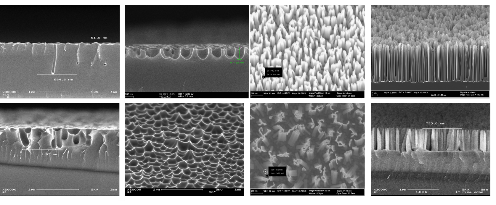 Figure 2: Scanning electron microscope (SEM) pictures of various structures all made by MACE.