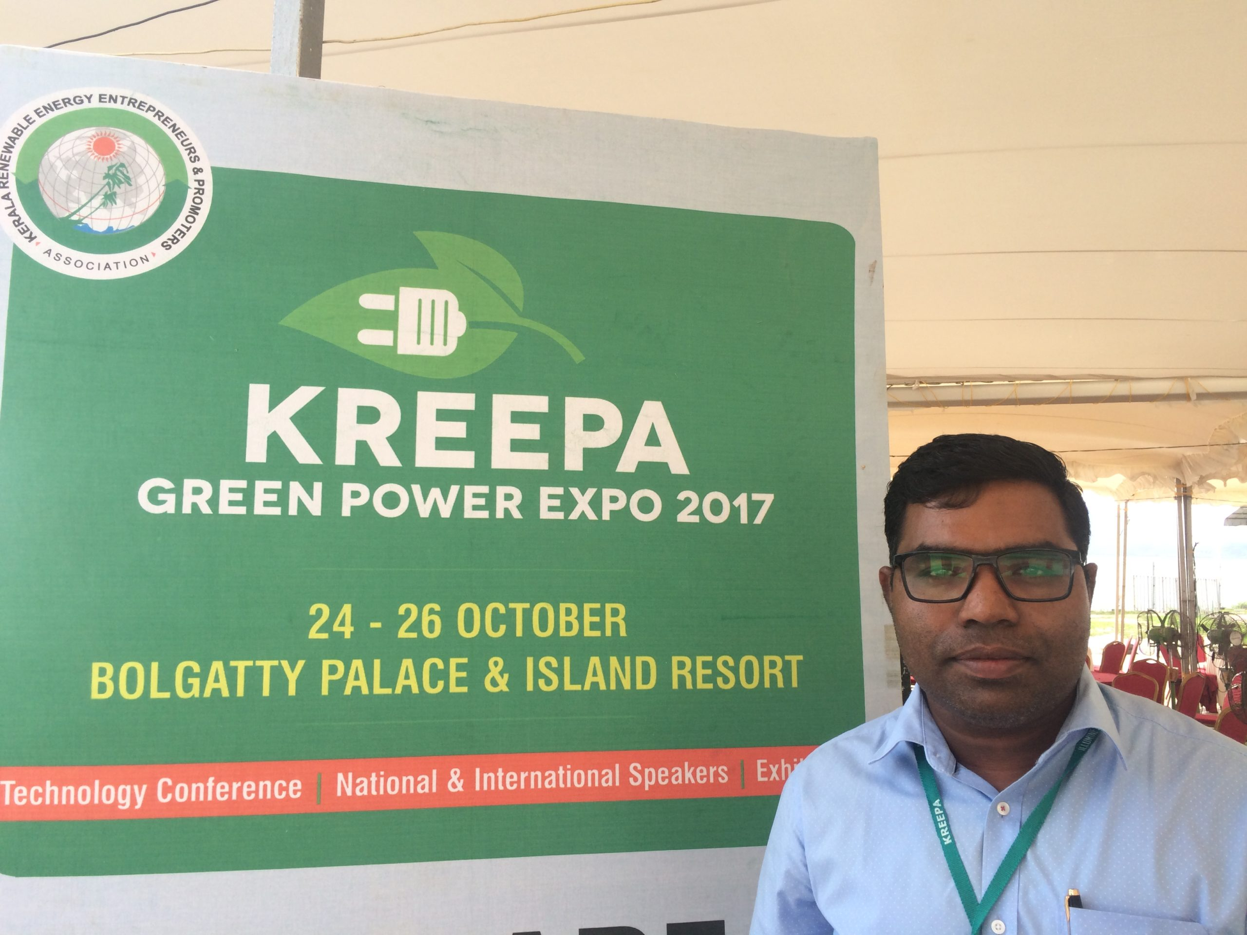 Terence Alex, founder and CEO of Wattsun Energy at the Green Power Expo in Kochi. Credit: Tom Kenning