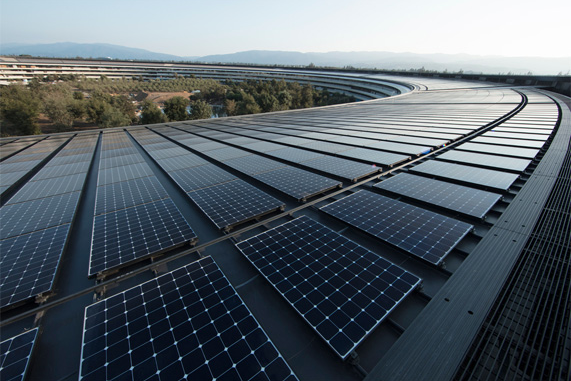 Apple's headquarters in Silicon Valley is powered by 100% renewable energy and features a 17MW rooftop solar installation. Image: Apple.