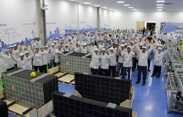 BYD has officially opened its first solar module assembly plant in Brazil with a nameplate capacity of 200MW that will include glass/glass modules as seen in the foreground. Image: BYD