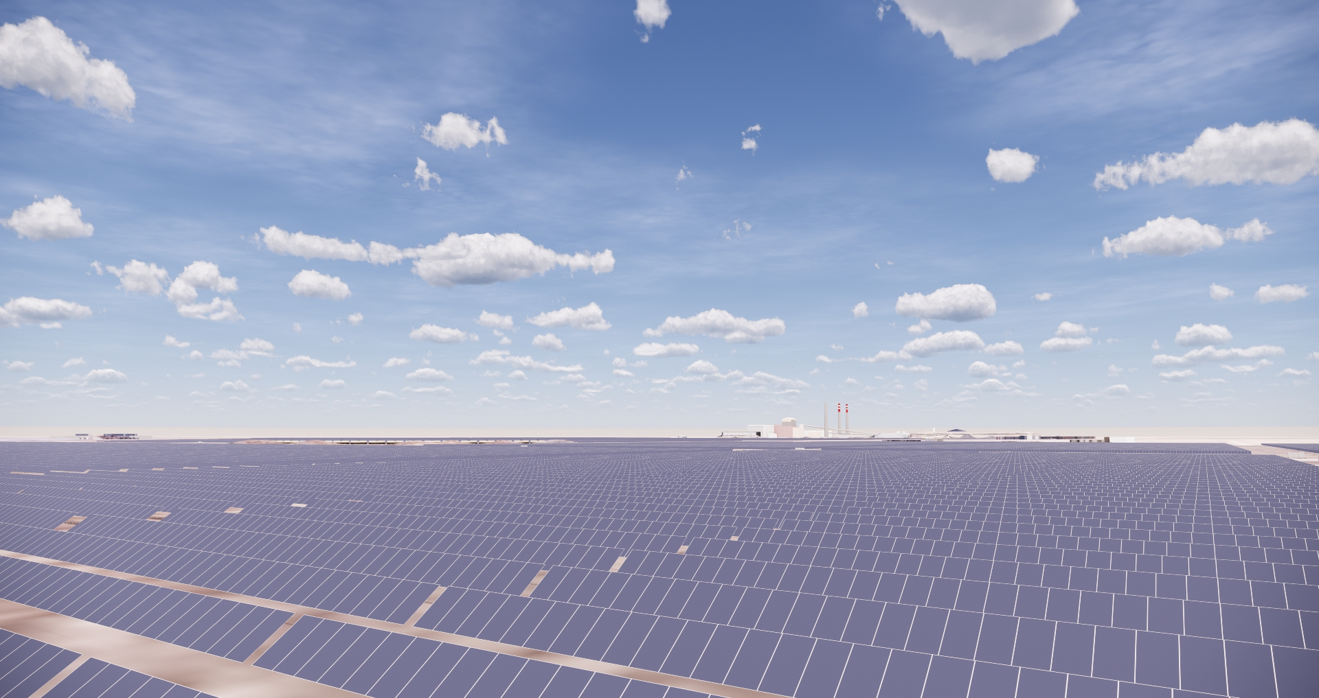 How Lightsource BP expects the Bighorn solar farm to look once complete. Image: Lightsource BP.