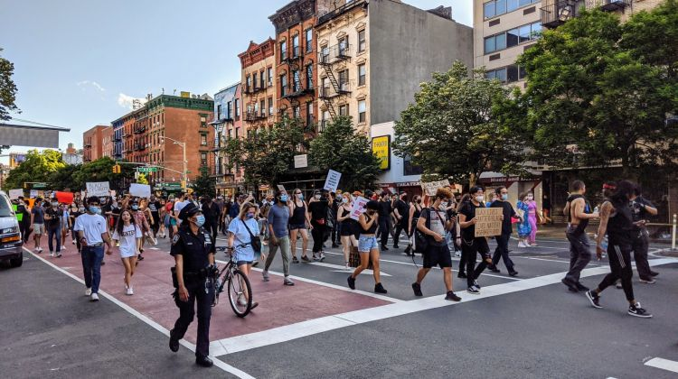 The links between net metering policies and social justice are being drawn as anti-racism protests (including the Black Lives Matter march in New York in May pictured above) continue in the US and worldwide. Image credit: Eden, Janine and Jim / Flickr