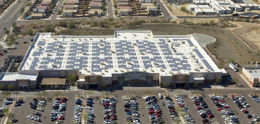 Commercial rooftop PV in Arizona. Utility solar prices in the state have plummeted in recent years. Image: Walmart Corporate.