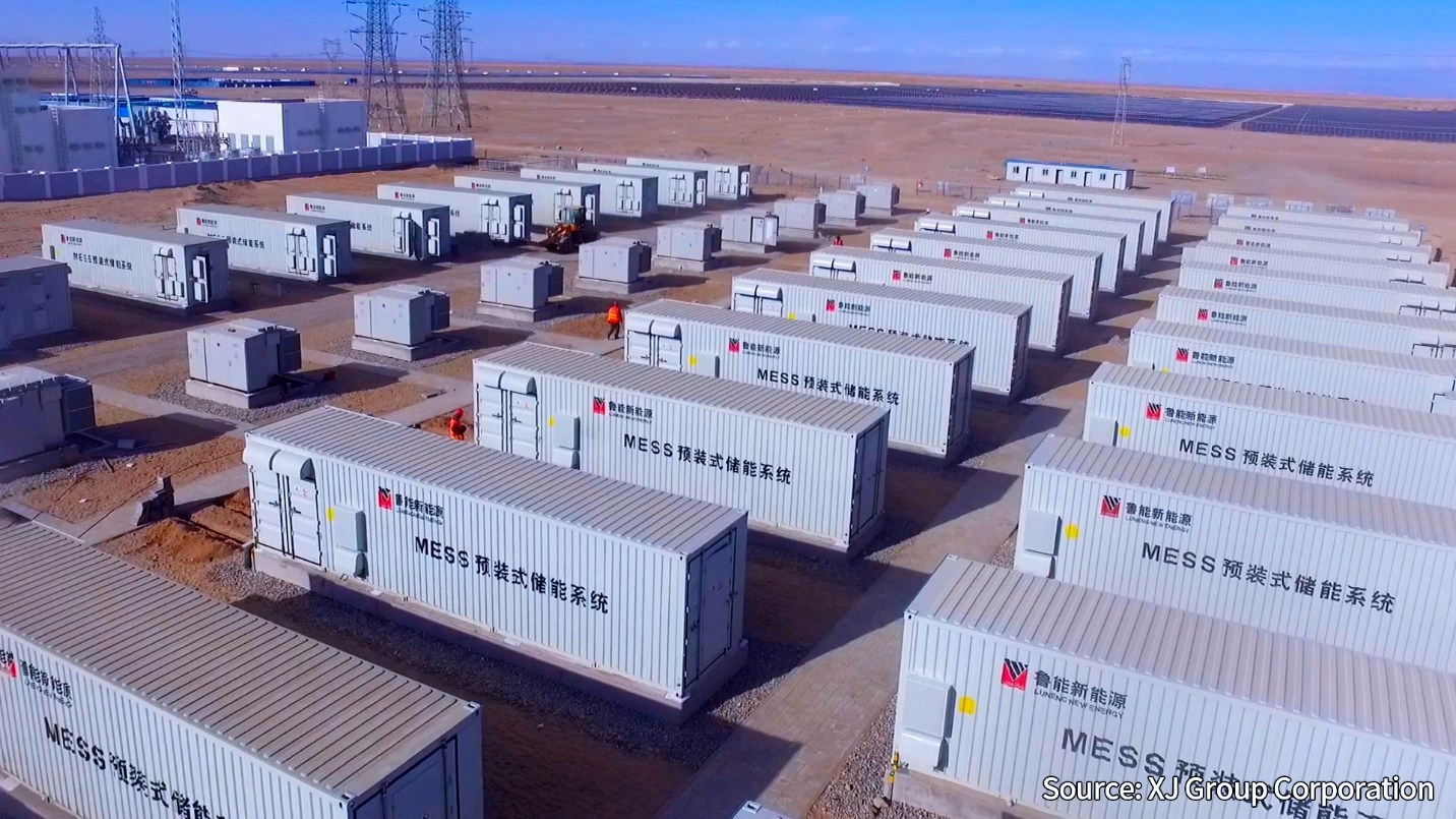 CATL's battery energy storage at the project in Qinghai Province. Image: CATL.