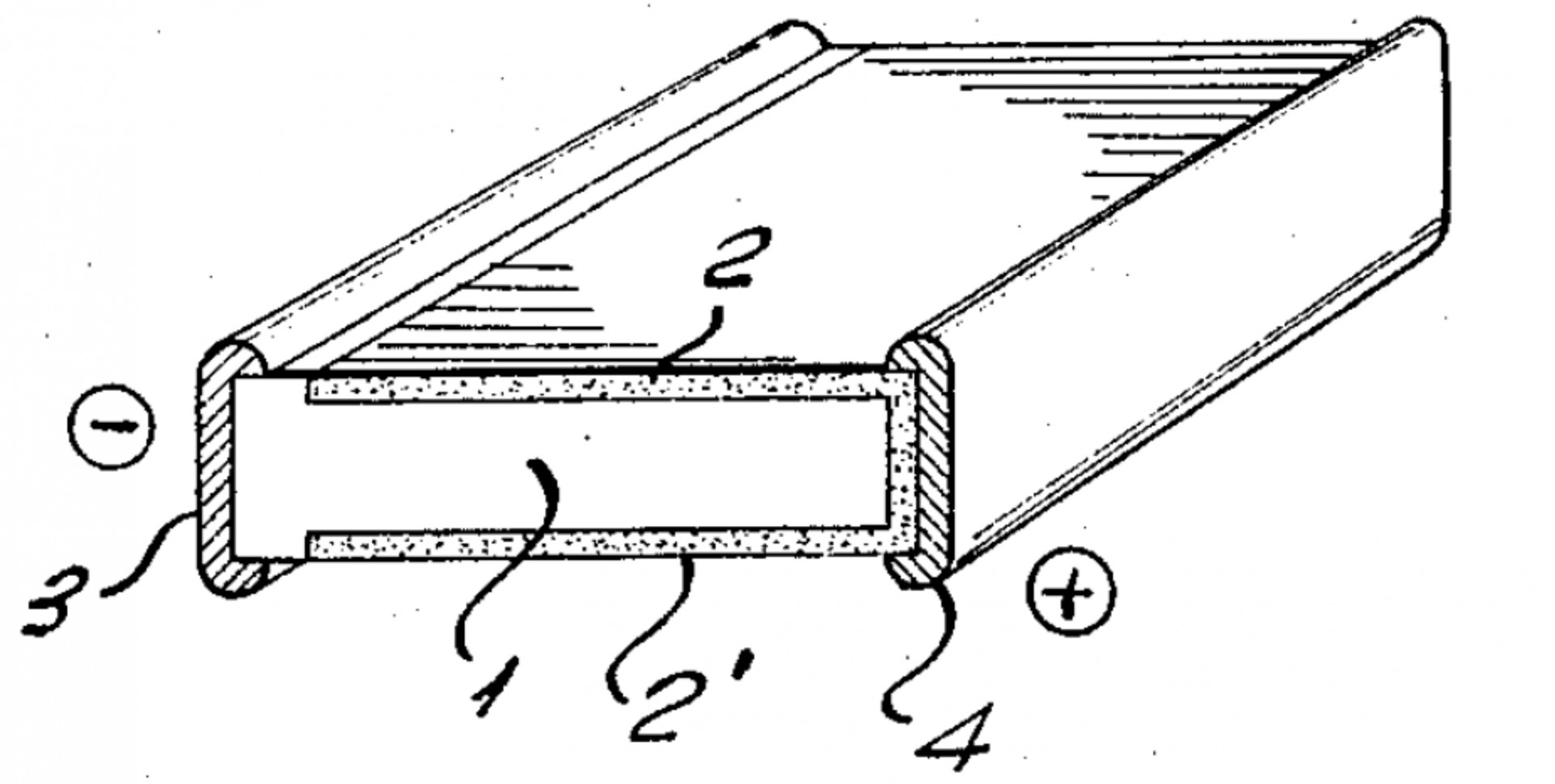 Figure 2. Double junction bifacial cell from a 1960 patent by H. Mori from Sharp (Japan). 1: n-type silicon, 2 and 2': p-type emitter regions