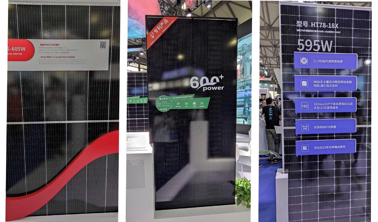 Suntech (605W),HT Solar(600W),HT-SAAE(595W)