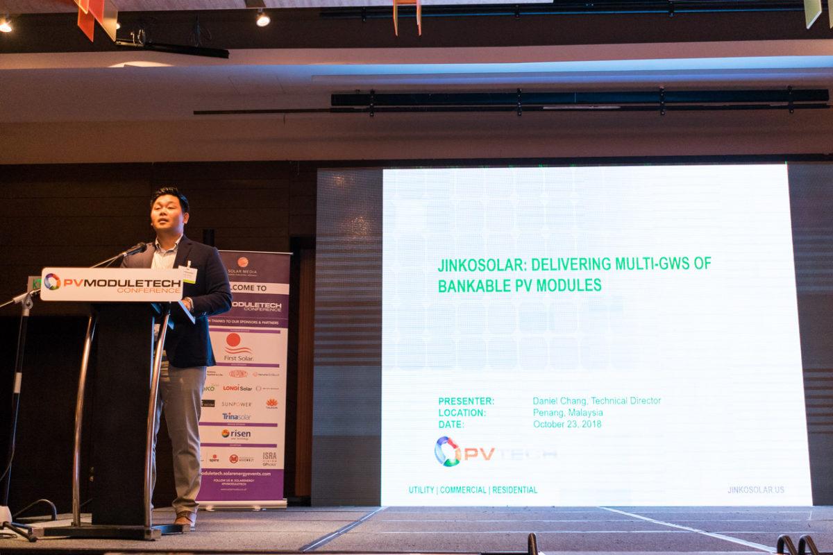 Daniel Chang, technical director at major China-based PV manufacturer JinkoSolar, talking at PV ModuleTech 2018 in Penang, Malaysia.