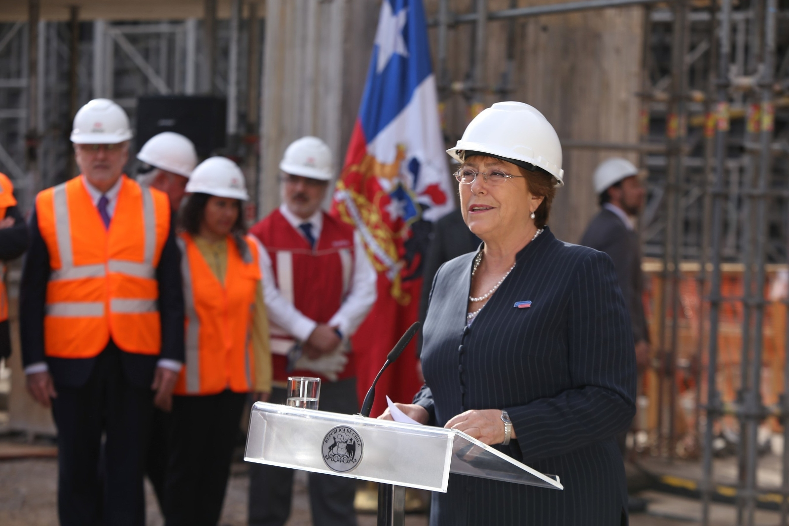 Chile President Michelle Bachelet attended the announcement on solar powering Santiago's Metro. credit:
