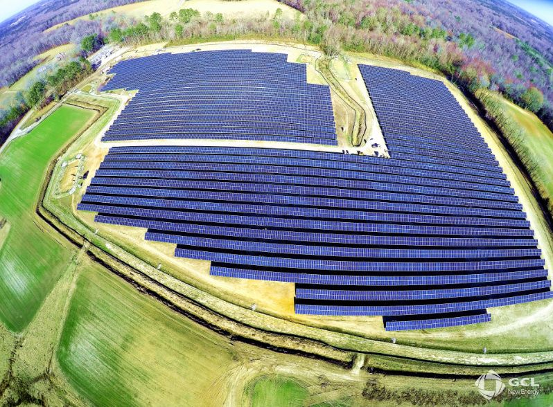 The 24.3 hectare solar farm on Downing Street is one of eight constructed recently by GCL New Energy to add renewable energy for the city of Wilson. Source: GCL New Energy