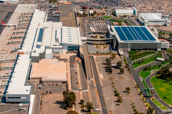 Clenergy provided its PV-ezRack SolarRoof mounting system to 1.2MW Solgen Adelaide Airport project. Image: Clernergy