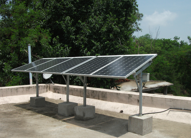 Off-grid PV system, India. Credit: Conergy