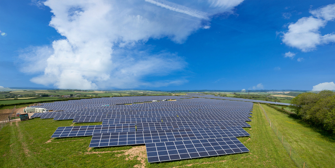 Greencells' solar farm in Coombeshead, the UK, one of more than 2.1GWp of projects completed by the company. Image: Greencells.