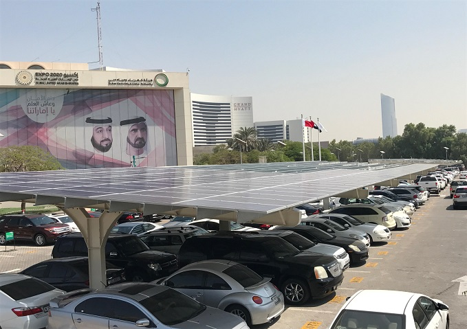 The DEWA parking lot will have a PV capacity of 1,780kW, and the Ministry building will have 220KW. Credit: DEWA