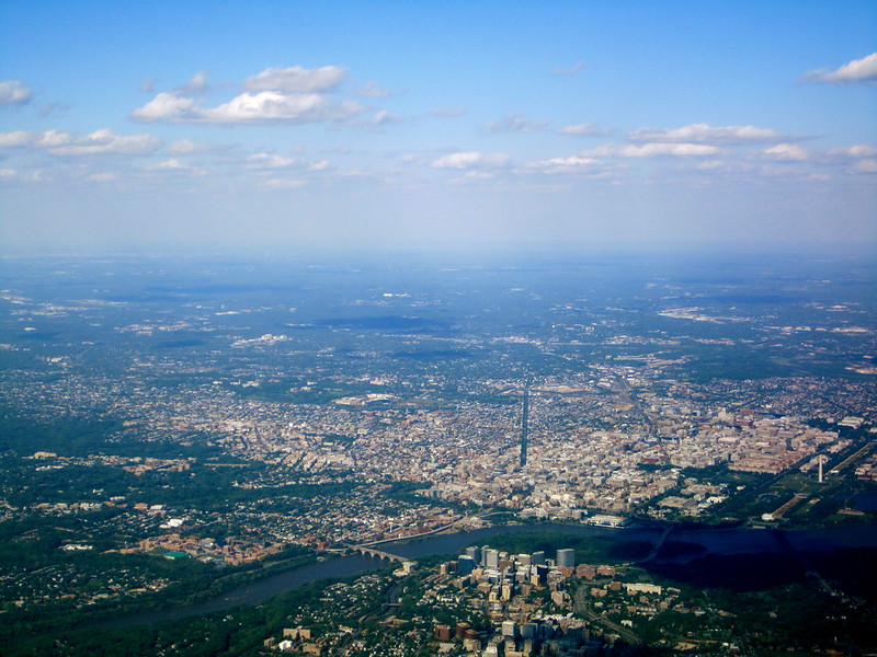 Arial shot of District of Columbia, part of the PJM electricity market. Source: Flickr, La Citta Vita
