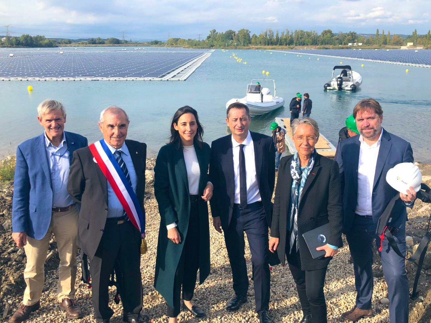 French environment minister Elisabeth Borne described O'MEGA 1 as Europe's largest PV plant as she toured the project last Friday (Image credit: French government)