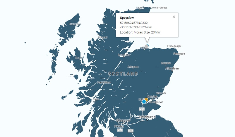 The 20MW Speyslaw site has been approved and will be built near a proposed site of 50MW plus currently awaiting a decision from Scottish government ministers. Image: Elgin Energy.