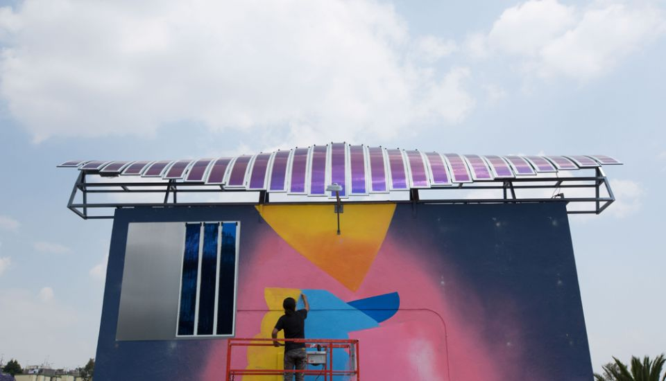 Engie's first advertising project called 'Solar Graffiti' features an installation on a sports field near Mexico City that combines the graffiti art of the local Street Artists N3O with Heliatek's solar films to power the sports areas lighting system. Image: Heliatek