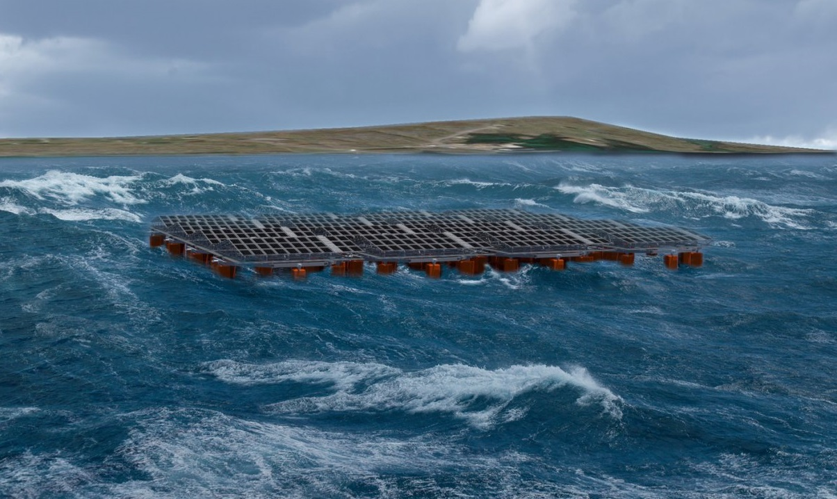 The plant will be tested for at least a year and supply electricity to the power grid on the island of Frøya. Image: Moss Maritime.