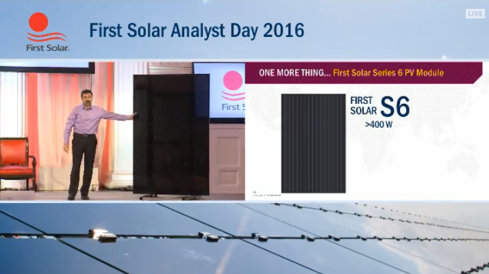 The company said at its Annual Analyst Day event that the large-area modules were expected to be produced with around 19% conversion efficiencies.