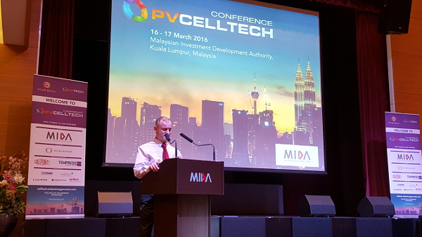 Finlay Colville addressing PV CellTech 2016.