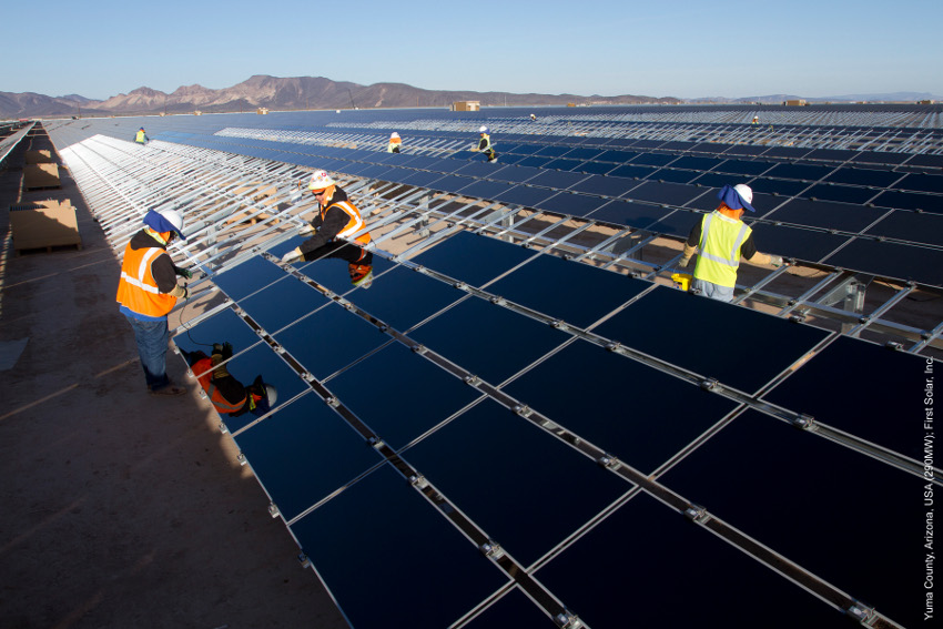 Over 156,000 First Solar Series 4 modules will be used to power the two projects. Image: First Solar