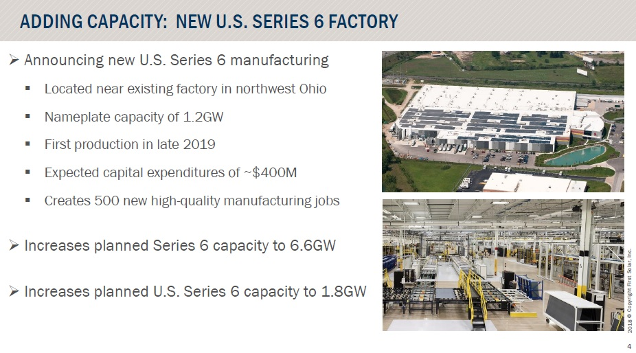 The planned annual nameplate capacity of the Ohio 2 facility makes it the largest single thin-film solar module manufacturing facility in the US and combined with the Ohio 1 flagship facility, creates the largest solar thin-film manufacturing hub in the US at 1.8GW. Image: First Solar