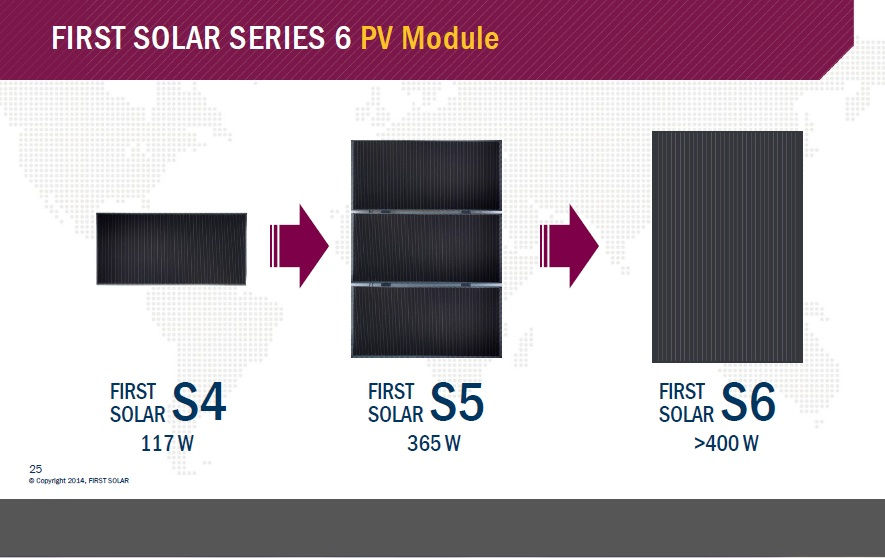 Benchmarking First Solar's CdTe offerings against c-Si types has been a key factor in increasing CdTe efficiencies for the current Series 4 modules. Image: First Solar