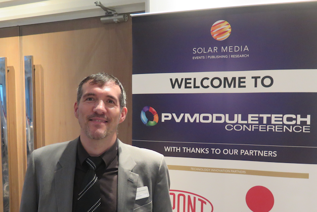 Franck Genonceau, business manager PV portfolio, at Meyer Burger, attending PV ModuleTech 2017. Credit: Solar Media