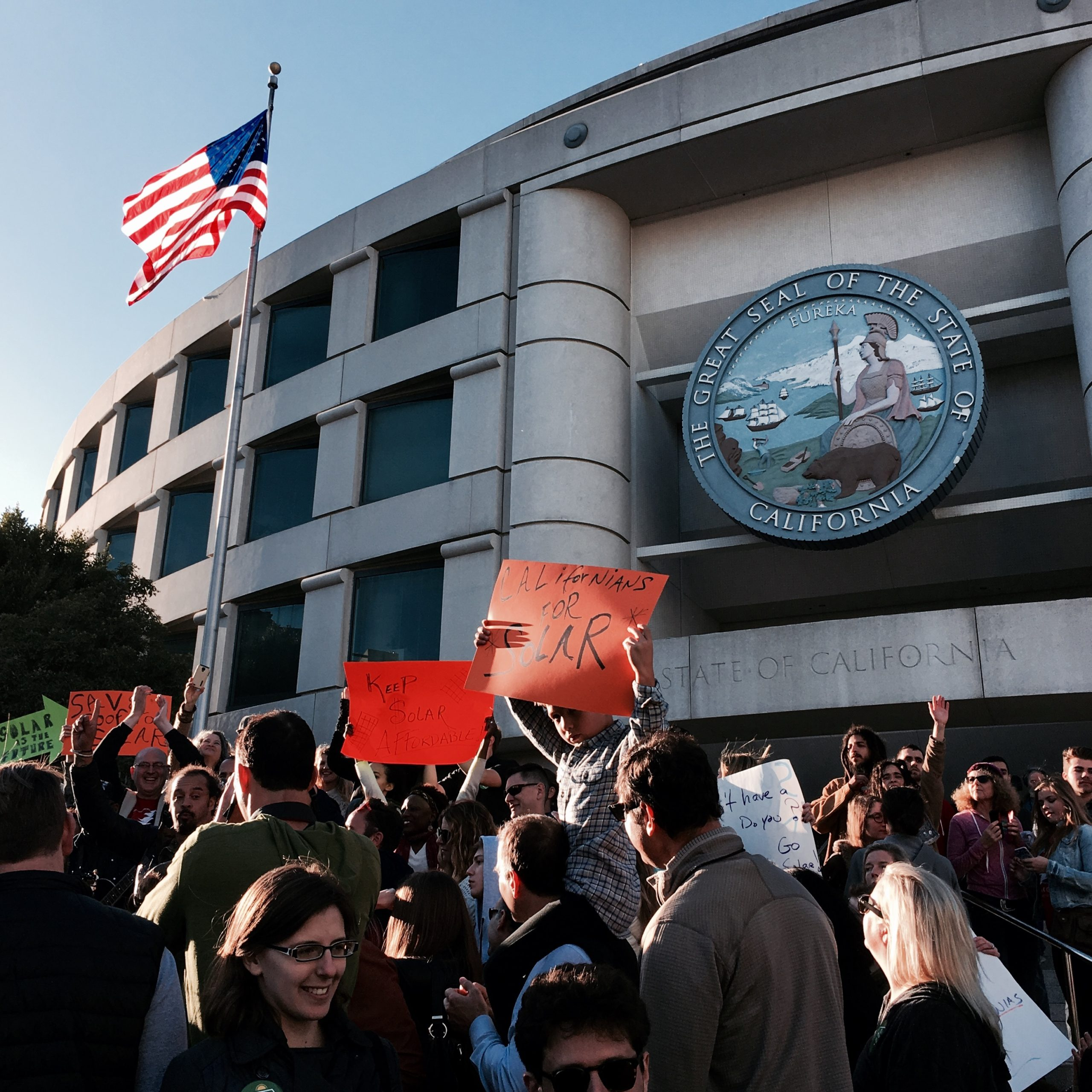Solar supporters celebrated the CPUC's decision to uphold net metering in California on Thursday. Image: Business Wire