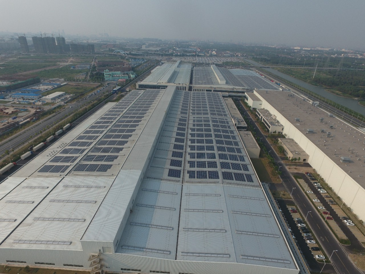The Jinqiao Cadillac assembly plant in Shanghai (above) will feature 10 megawatts of rooftop solar arrays.