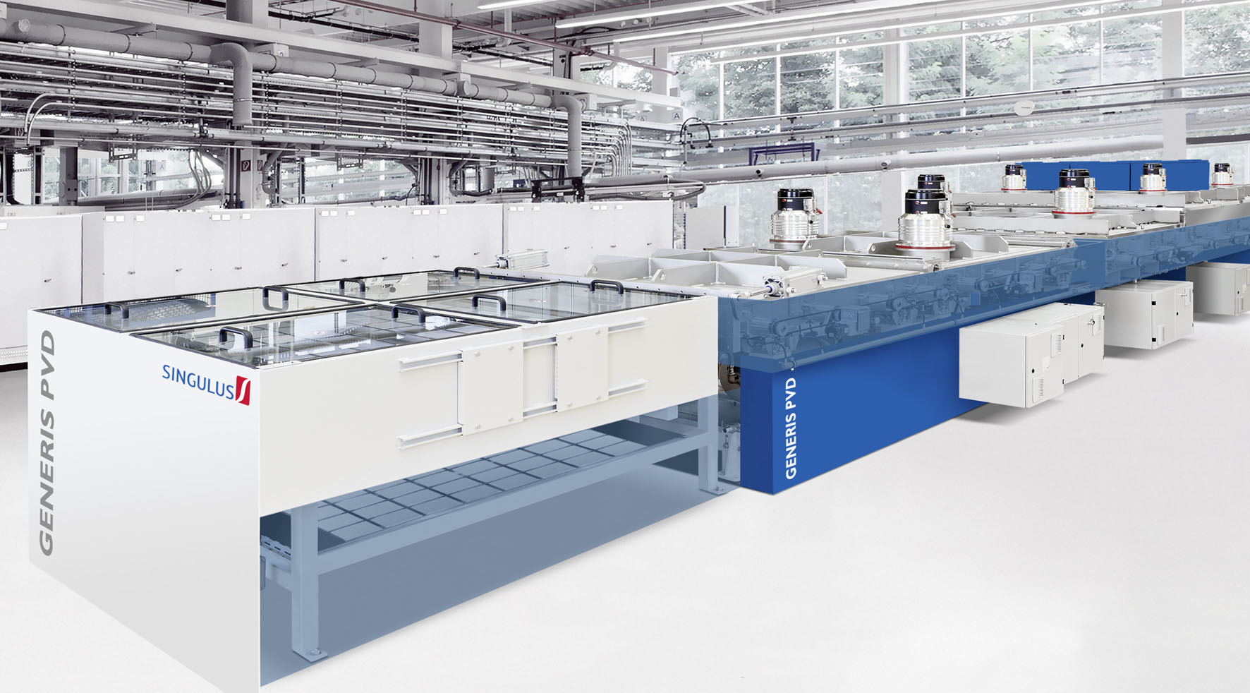 With the GENERIS PVD sputtering system, contact layers can be deposited on the front and rear of the Si wafers without the need to turn the wafers between coating processes and without vacuum interruption.