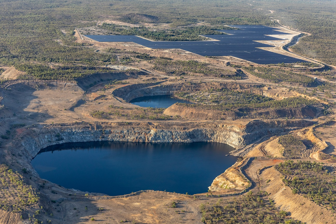 Genex Power predicts its planned 250MW pumped storage hydro project will solve some of the system strength issues affecting its 50MW Kidston solar park, pictured in the distance. Image: Genex Power.