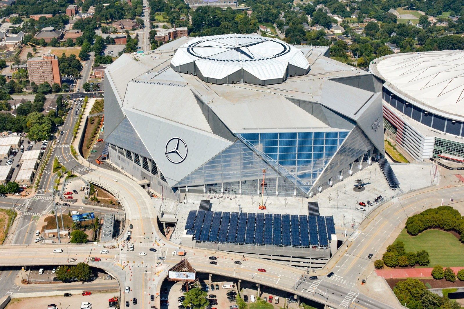 The Mercedes-Benz Stadium project was developed in coordination with and approved by the Georgia Public Service Commission (PSC). Image: Georgia Power