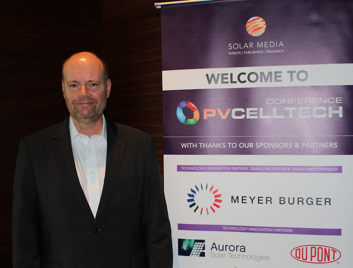 Gordon Deans, founder and chief operating officer of inline solar cell measurement equipment specialist Aurora Solar Technologies at PV CellTech 2018. Credit: Solar Media