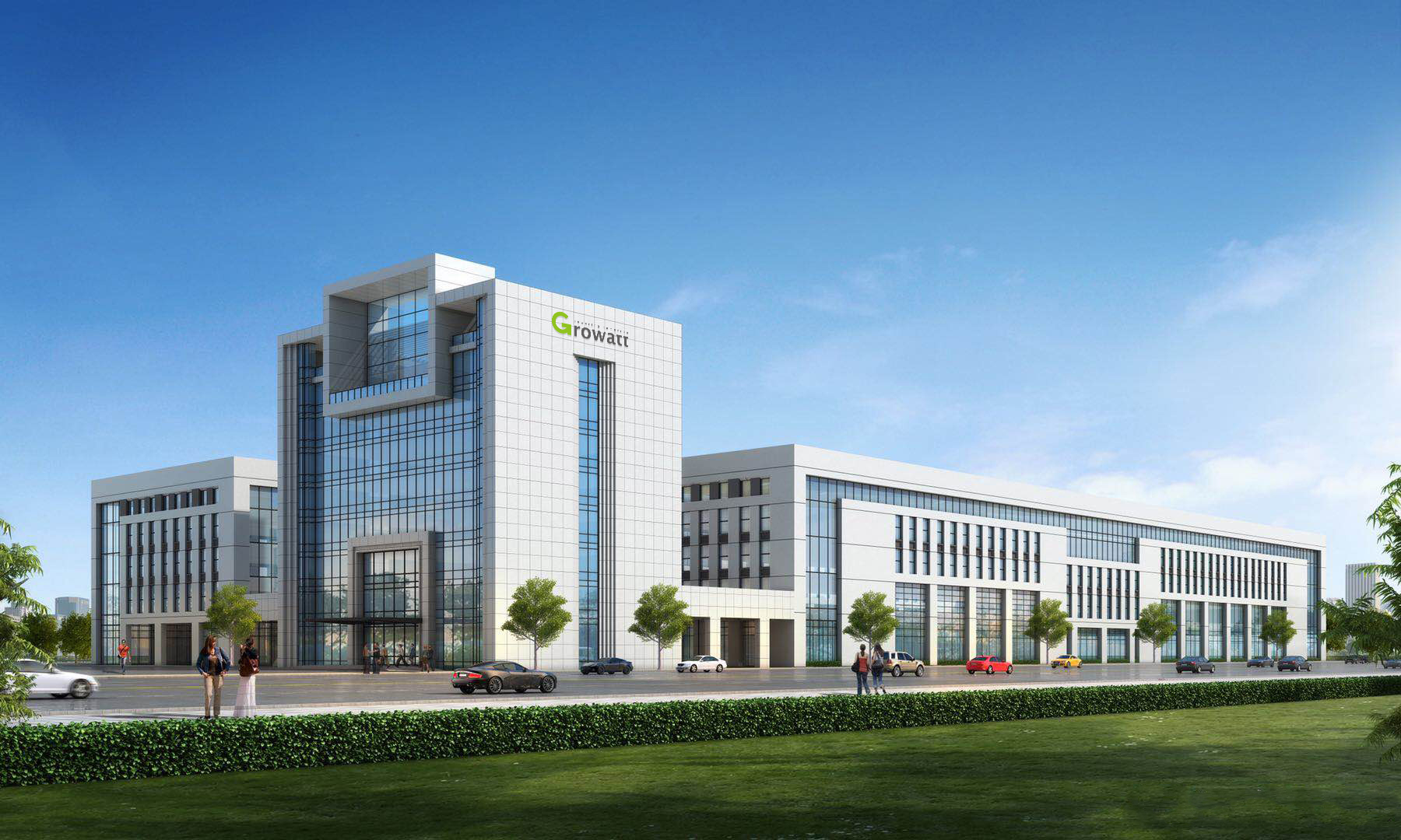How Growatt;s new manufacturing facility will look once complete. Image: Growatt.