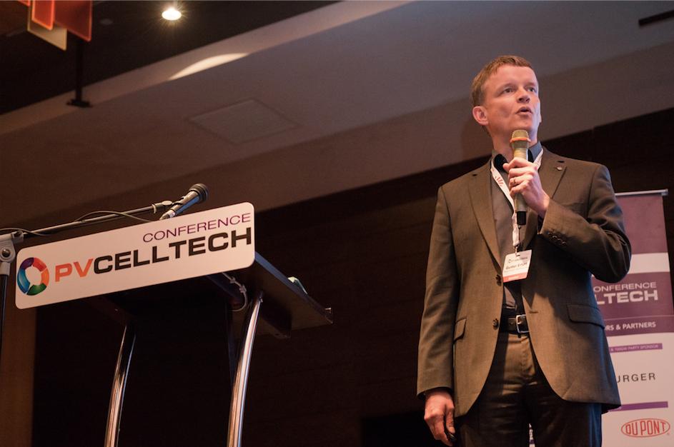 Dr. Gunter Erfurt, CTO of leading PV equipment supplier Meyer Burger, speaking at PV CellTech 2018. Credit: Solar Media