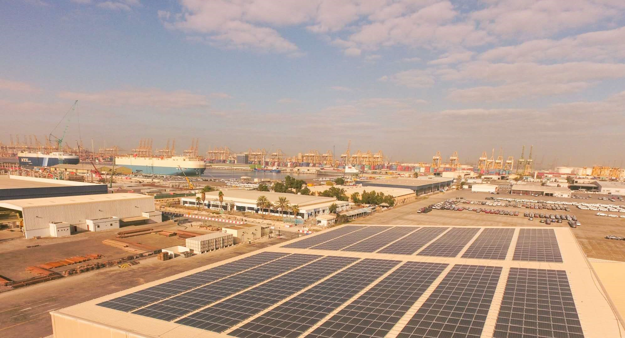 The 25.8MW installation at DP World, the largest decentralised PV project in the UAE. Image: Huawei