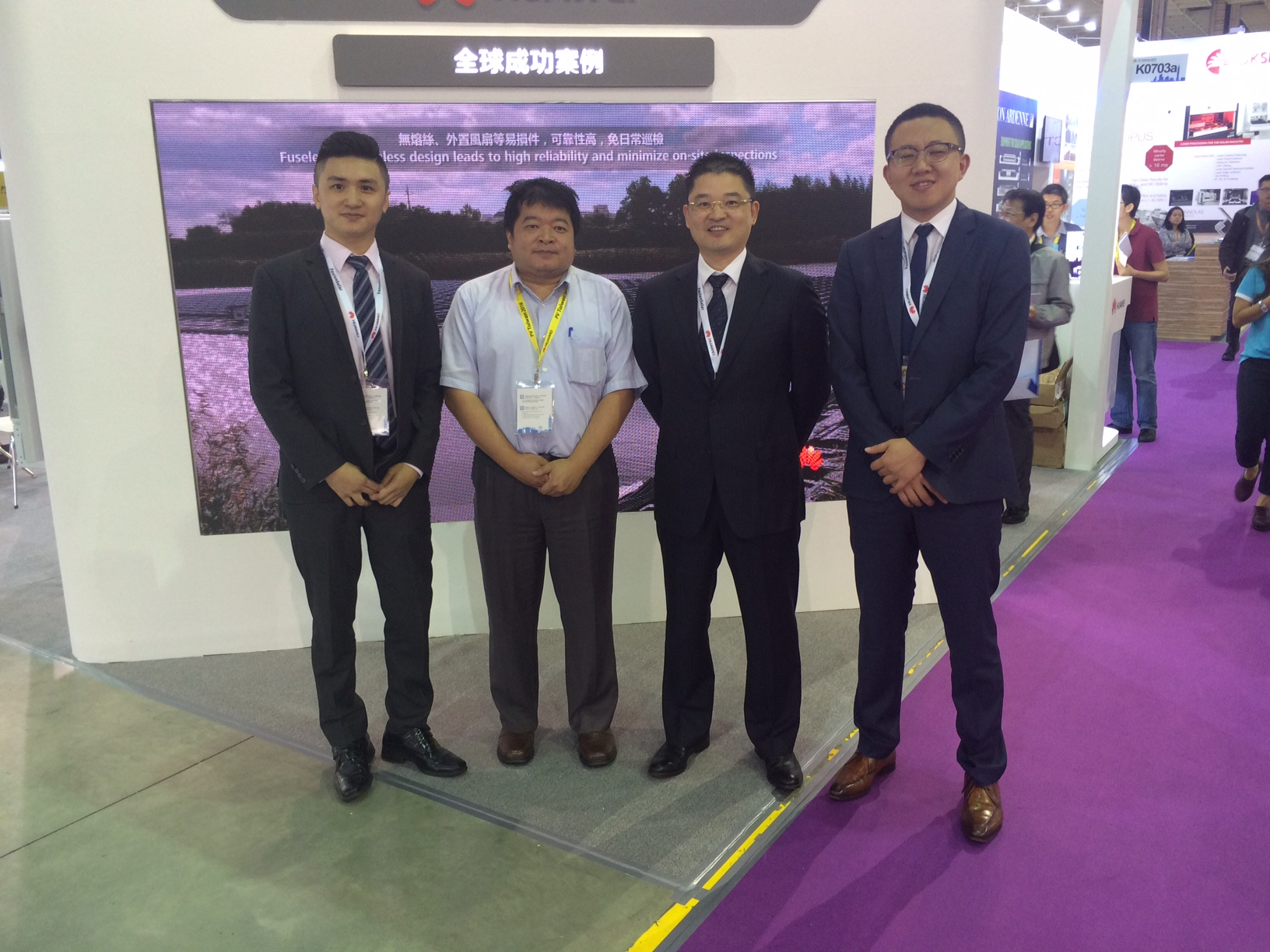 Members of the Huawei team and SAS sunrise at the PV Taiwan exhibition. credit: Tom Kenning