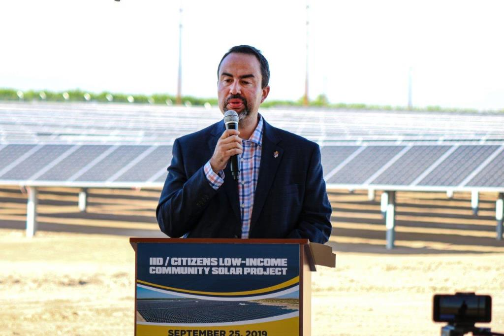 IID Board President Erik Ortega speaks at the launch of the power provider's joint venture with Citizens Energy Corp. Source: IID